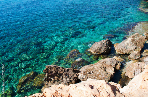 Canvas Cyprus Background of transparent blue water