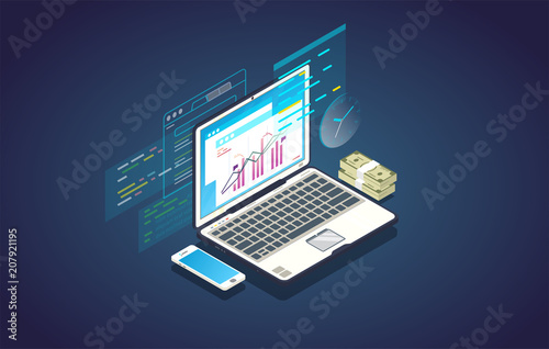 Finance analysis computer web app. Isometric laptop with chart and financial growth graph. Money and mobile phone. Finance report and plan for business.