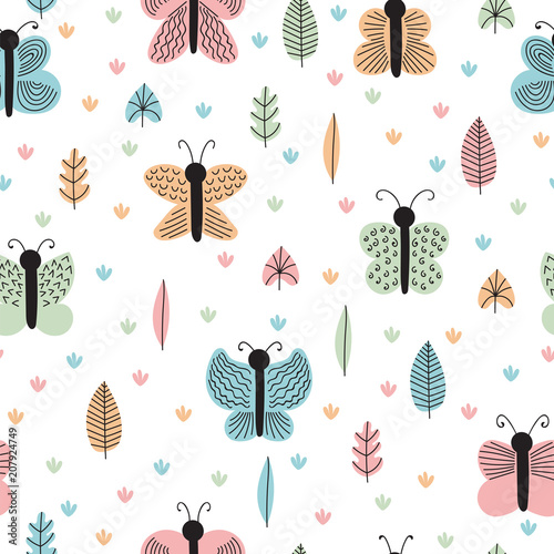 Hand drawn seamless pattern with butterflies and moths. Creative scandinavian childish background. Stylish decorative elements