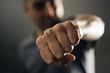 Leinwanddruck Bild - young man throwing a punch.