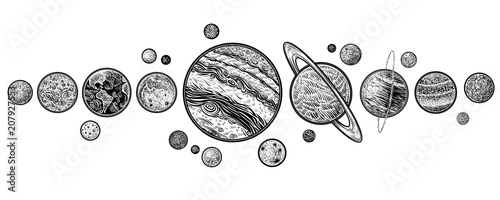 Fototapeta Planets in solar system hand drawn vector illustrations.