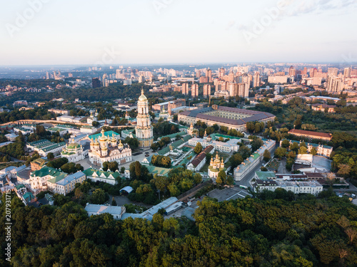 Aluminium Kiev Aerial top view of Kiev Pechersk Lavra churches on hills from above, cityscape of Kyiv city