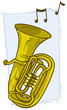 Cartoon yellow copper tuba with musical notes - 207940928