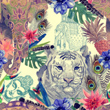 Seamless watercolor pattern with tiger head, elephant. - 207943559