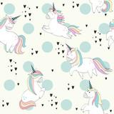 Vector seamless pattern with Magic cute unicorns. - 207951352