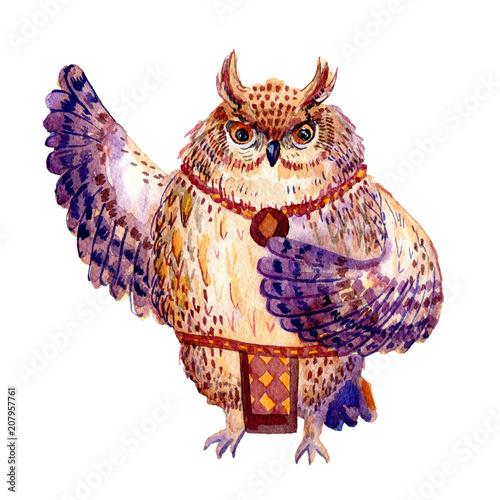 Aluminium Uilen cartoon Hawaii dance owl, watercolor illustration isolated on white background.