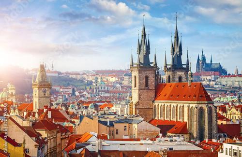 Leinwanddruck Bild High spires towers of Tyn church in Prague city Our Lady