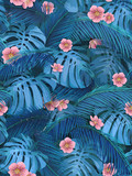 Exotic leaves and pink flowers seamless tropical background for fabric wallpaper. Leaves of monstera and banana palm. - 207961189