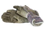 schmutzige Arbeitshandschuhe isoliert auf weißem Hintergrund - 207963541