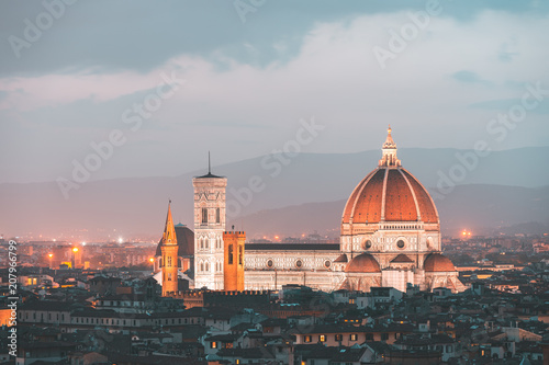 Fotobehang Florence Florence skyline and Cathedral Santa Maria del Fiore, Italy