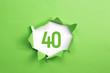 Leinwanddruck Bild - gruene Nummer 40 auf gruenem Papier