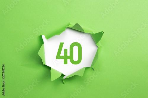 Leinwanddruck Bild gruene Nummer 40 auf gruenem Papier