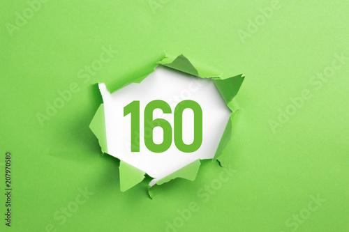 Leinwanddruck Bild gruene Nummer 160 auf gruenem Papier