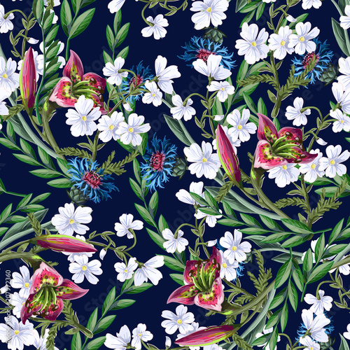 Seamless pattern with lilies and wild flowers. Vector illustration. - 207972360