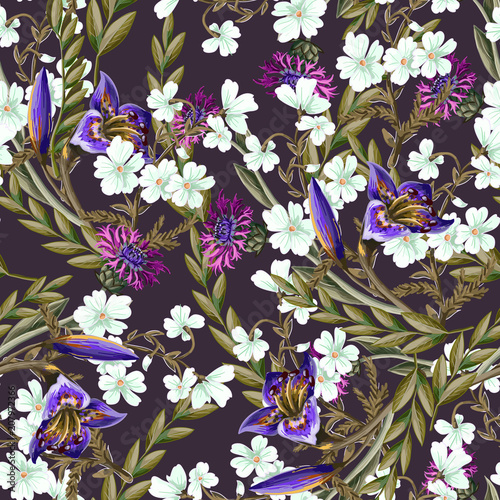 Seamless pattern with lilies and wild flowers. Vector illustration. - 207972366