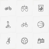 Hobbies line icon set with basketball, game joystick and chess