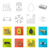 Railway tank, chemical formula, oil price chart, pipeline valve. Oil set collection icons in outline,flat style vector symbol stock illustration web.