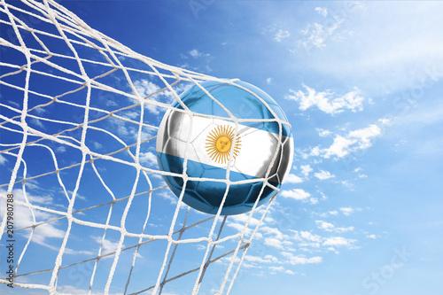 Fotobehang Buenos Aires Fussball mit argentinischer Flagge