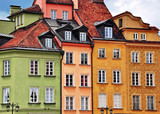 Colorful facades of traditional houses, Warsaw old town