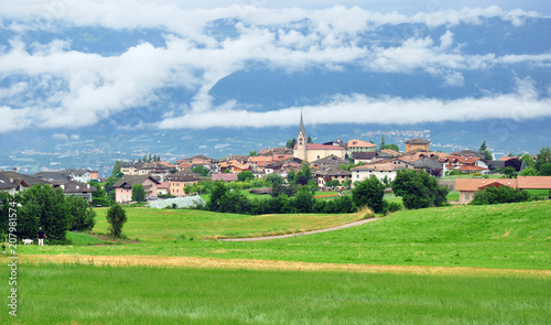 Panorama of small italian apline village
