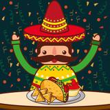 character restaurant menu nachos taco sauce mexican food vector illustration - 207986590