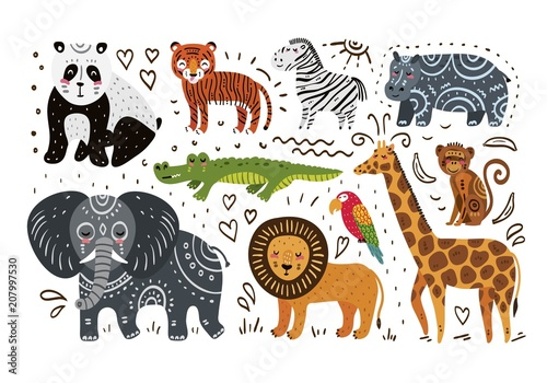 Rysowanie dłoni zwierząt w dżungli