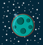 moon icon over space background, colorful design. vector illustration