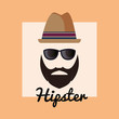 Hipster style design with man face with hat and glasses over orange background, colorful design. vector illustration