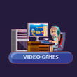 cartoon kid playing online video game over purple background, colorful design. vector illustration - 208011552