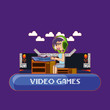 cartoon kid playing online video game over purple background, colorful design. vector illustration - 208011568