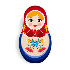 Traditional matrioska or russian doll isolated
