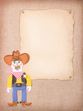 American Cowboy in wild west hat and boots on old paper background - 208037597