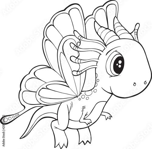 Fotobehang Cartoon draw Cute Butterfly Dragon Vector Illustration Art