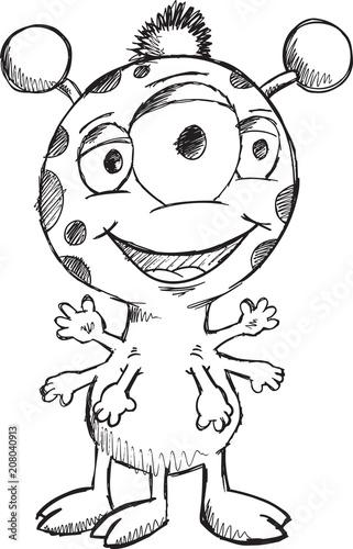 Fotobehang Cartoon draw Doodle Sketch Monster Vector Illustration Art
