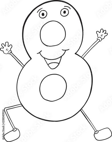 Fotobehang Cartoon draw Happy Cute Number Eight Vector Illustration Art