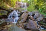 Waterfall beautiful in rain forest at Soo Da Cave Roi et Thailand