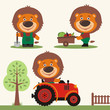 Set of funny lion farmer with shovel, with wheelbarrow with vegetables, in farm tractor. Collection of lion is working on the farm.