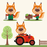 Set of funny squirrel farmer with shovel, with wheelbarrow with vegetables, in farm tractor. Collection of squirrel is working on the farm. - 208041582