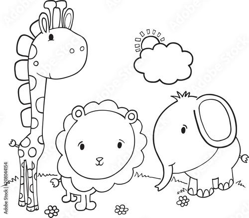 Fotobehang Cartoon draw Cute Safari Animals Vector Illustration Art
