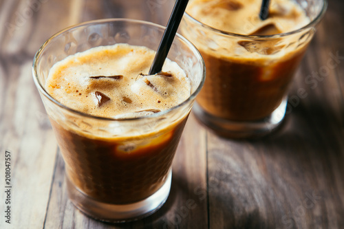 Fotobehang Milkshake Glasses of iced coffee latte