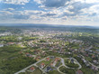 Panorama from a bird's eye view. Central Europe: The Polish town of Jaslo is located among the green hills. Temperate climate. Flight drones or quadrocopter. - 208052341