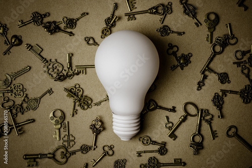 Foto Murales white light bulb and many keys on brown paper background