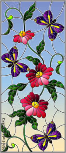 illustration-in-stained-glass-style-with-abstract-curly-pink-flower-and-an-purple-butterfly-on-sky-background-vertical-image