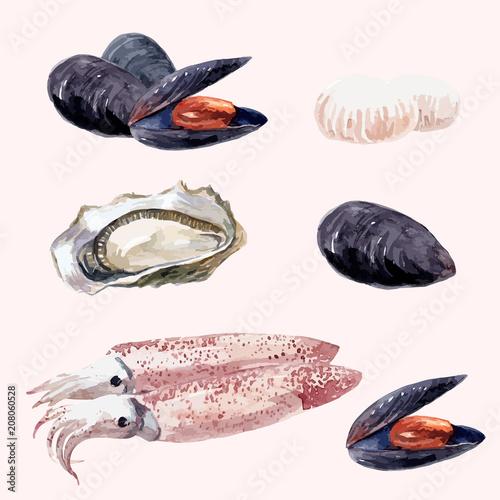 Watercolor sea food set