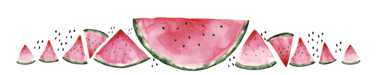 Fresh red watermelon on white isolated background. Watercolor illustration. Concept. Collage © kozhevnikofa