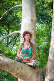 young yoga woman meditate on tree s - 208069128