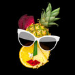 Tasty art  /Creative concept photo of cubist style female face in sunglasses made of fruits and vegetables, on black background. - 208072156
