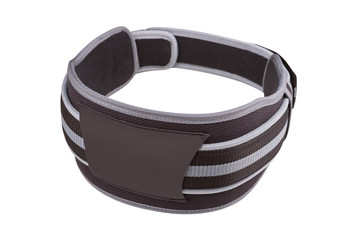 gray wide belt for weight lifting and powerlifting, buttoned, on white background isolated © aneduard