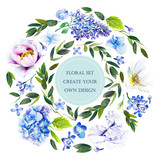 Floral set with flowers: hydrangea; lilac; iris, dog rose, peony and twigs with leaves. Illustration by markers: elements for create your own design. Imitation of watercolor drawing. - 208086991
