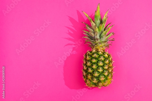 Pineapple from above on pink background - 208089508